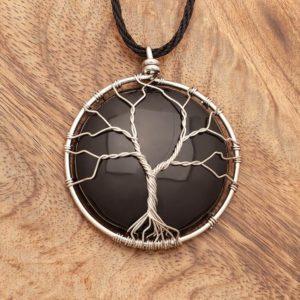 obesek drevo življenja s kamnom obsidianom in prepleteno žico