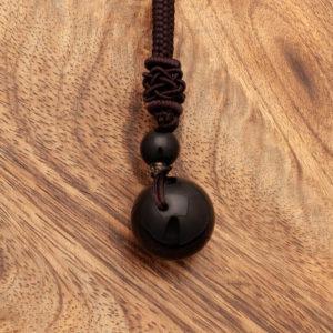 Obesek Obsidian kroglica