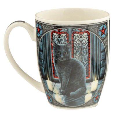 Lisa Parker skodelica s črno mačko sacred circle cat