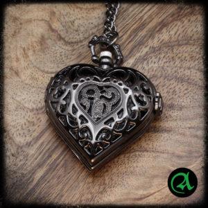 ura črno srce quartz ura obesek