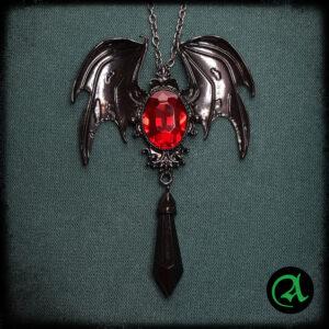 ogrlica vampirska rdeči kristal