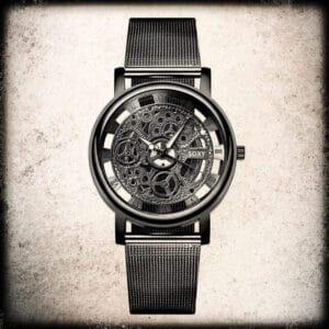 moška črna ura skelet