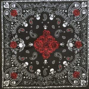 črna rdeča bandana lobanja z vrtnicami