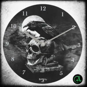 črnobela stenska ura krokar lobanja