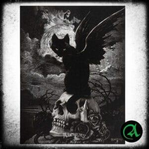 lika na platnu mačka z lobanjo alchemy gothic